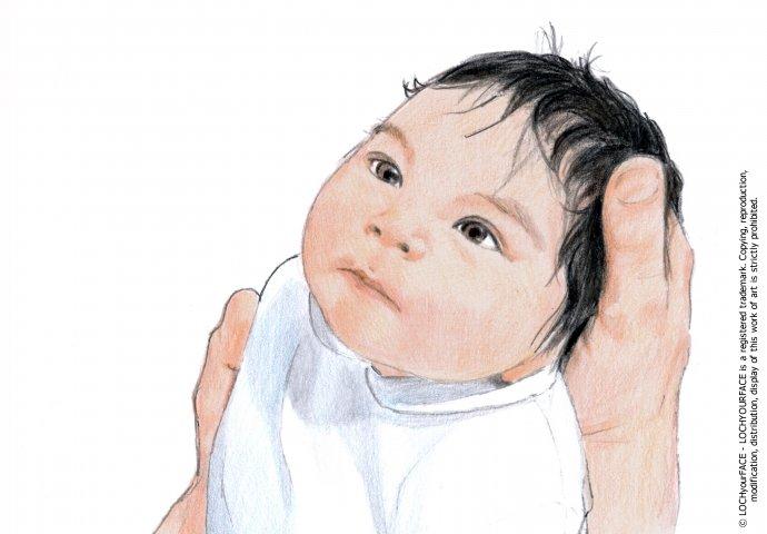 Disegno ritratto fedele bimbo neonato realizzato per personalizzare un  invito di nascita