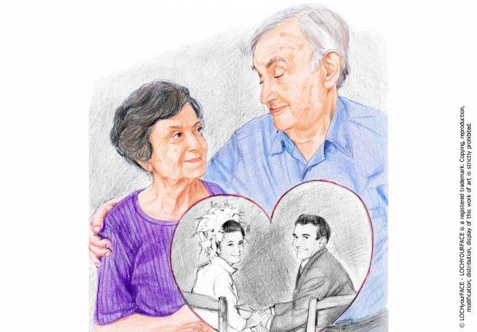 Disegno ritratto fedele realizzato per anniversario 50 anni e stampato su tela d'arredo