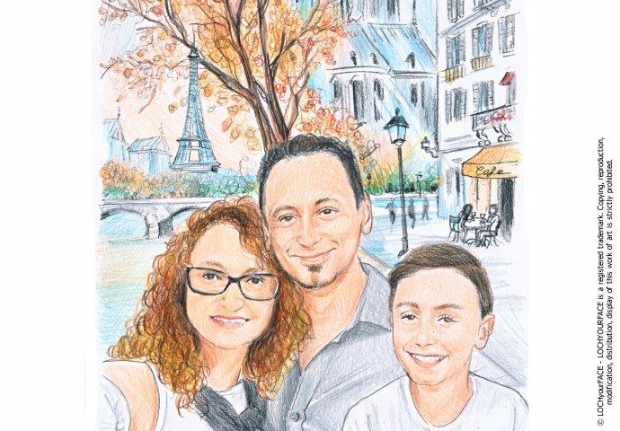Disegno ritratto fedele di famiglia a Parigi realizzato per personalizzare etichetta adesivo per bottiglia di vino.