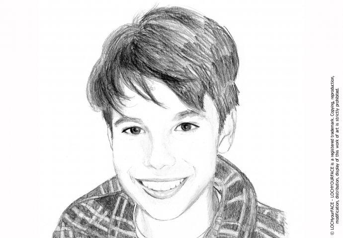 Disegno ritratto fedele ragazzo in bianco e nero realizzato per personalizzare cover cellulare
