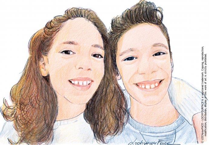 Disegno ritratto fedele fratelli gemelli realizzato per invito comunione