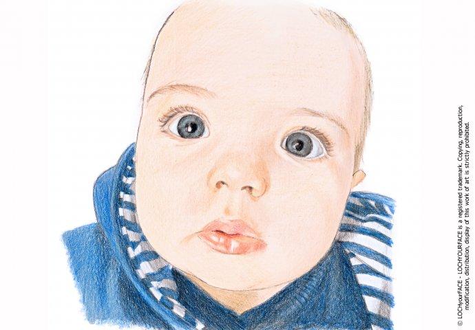 Disegno ritratto fedele bimbo piccolo realizzato per personalizzare invito battesimo e bigliettini bomboniera