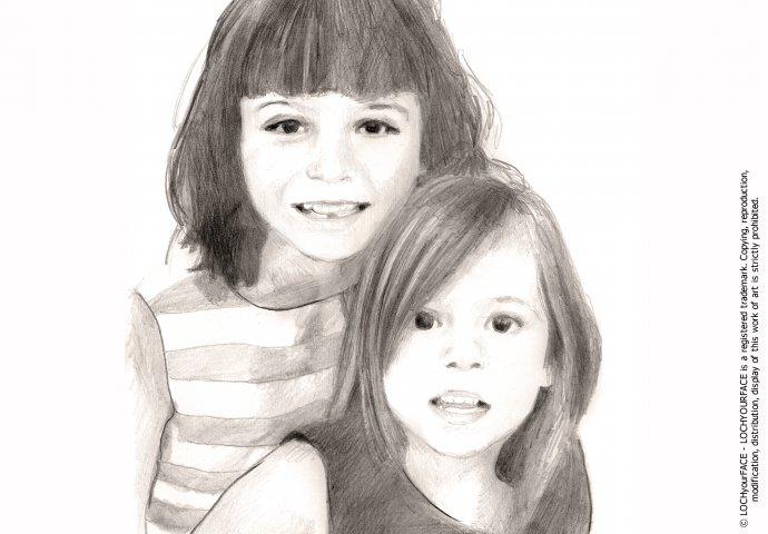 Disegno ritratto fedele sorelle realizzato per tela d'arredo