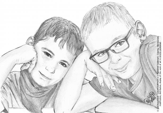 Disegno ritratto fedele di fratelli realizzato per personalizzare cover cellulare
