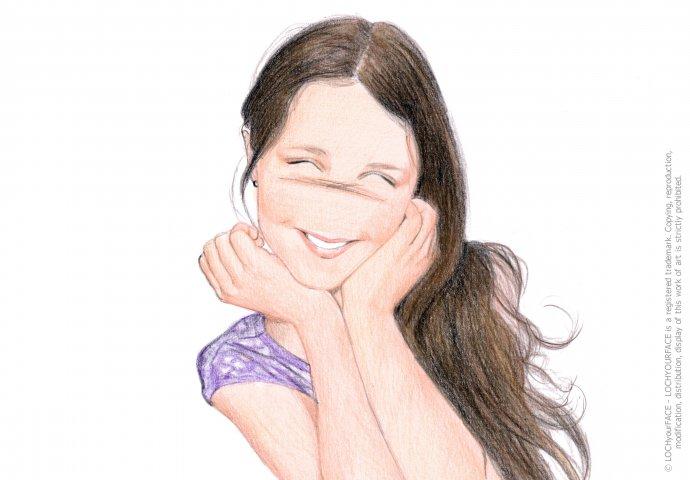 Disegno ritratto in stile Loch di bambina, realizzato per personalizzare bomboniera per Comunione