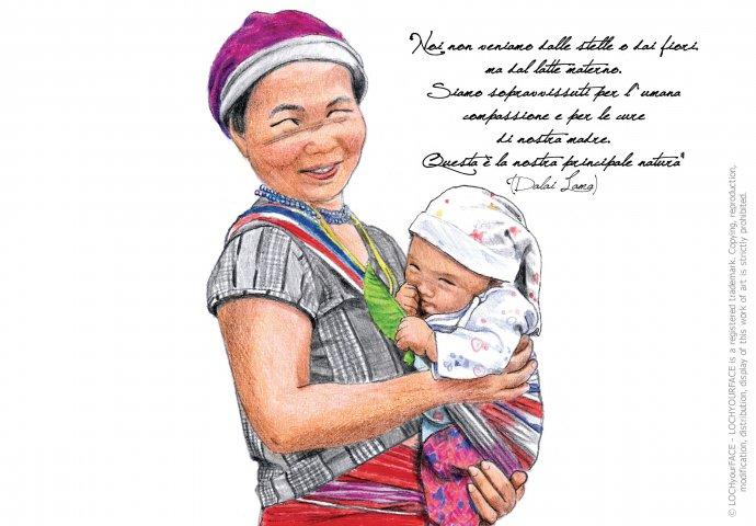 Ritratto fedele di mamma peruviana con figlio e frase emozionale