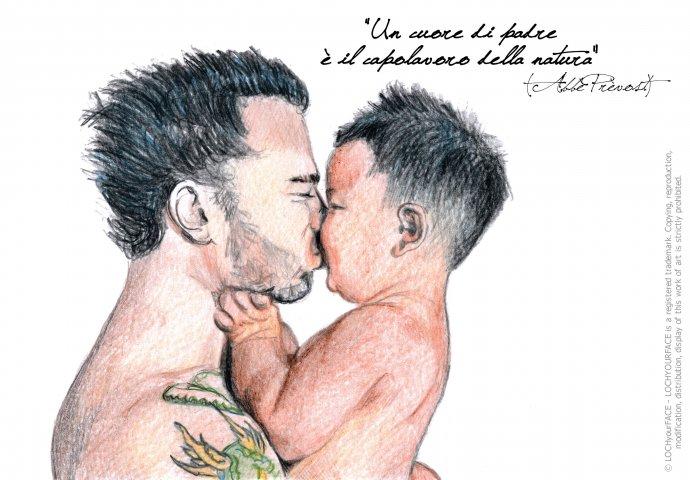 Ritratto fedele di babbo che bacia il figlio piccolo con scritta emozionale