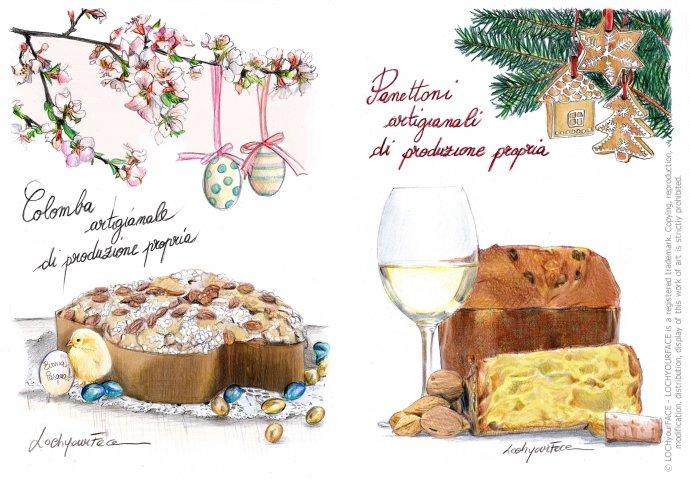 Illustrazione Pasquale e Natalizia realizzata per una pasticceria artigianale