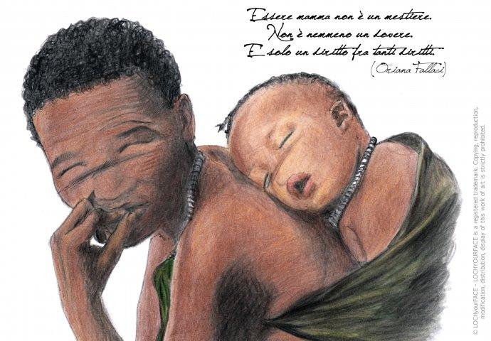 Ritratto fedele di mamma africana con figlioletto che dorme e scritta emozionale