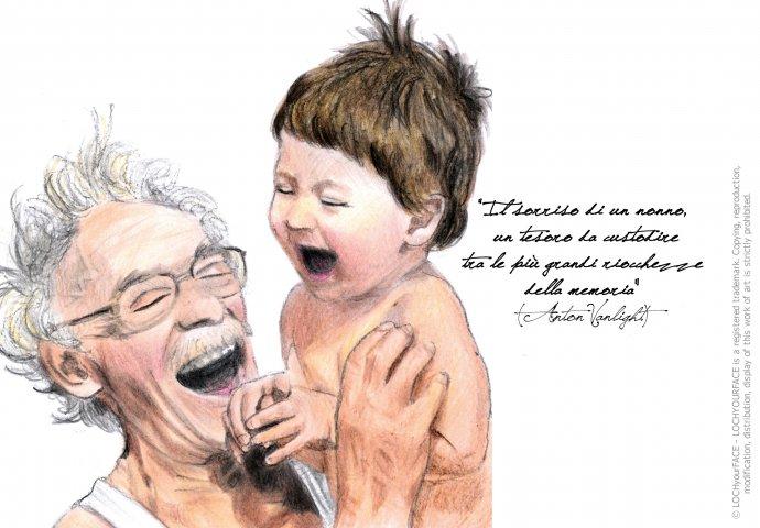 Ritratto fedele di nonno che ride con nipotino e scritta emozionale