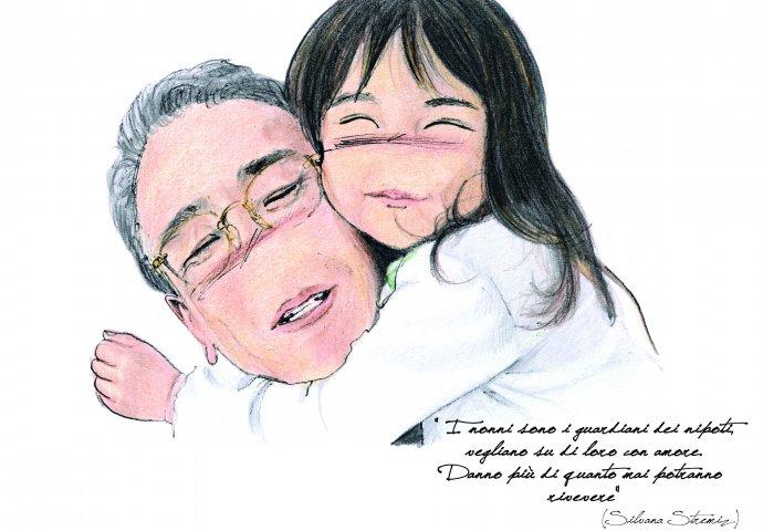 Ritratto fedele di nonno con nipotina con scritta emozionale