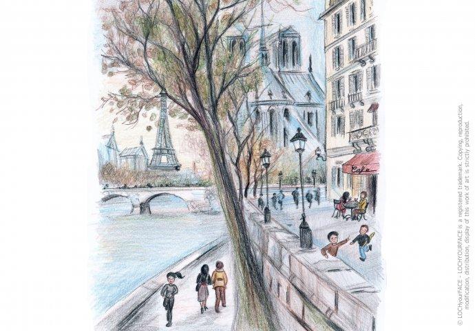 Disegno realistico di uno scorcio Parigino realizzato per un compleanno tema Parigi