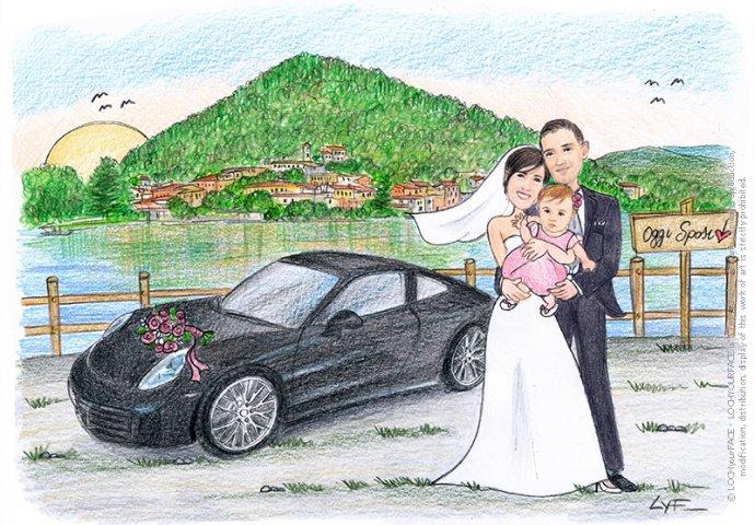 Disegno caricatura fedele di sposi abbracciati con figlia vicino alla loro macchina con vista lago