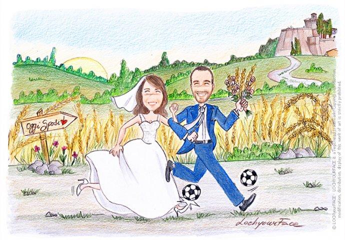Disegno in stile Loch di sposi che corrono con la palla da calcio. Nello sfondo un campo di grano e la Rocca di Meldola