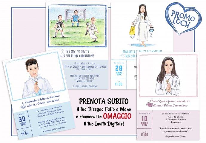 Invito Digitale per la Comunione personalizzato con il Disegno fatto a Mano e i testi.