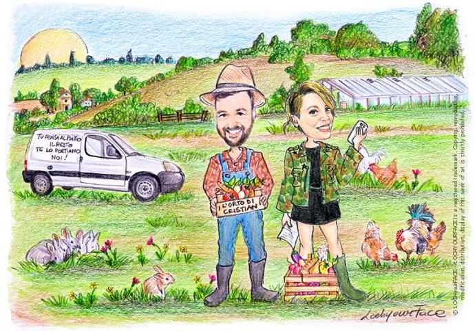 Disegno scenetta caricatura fedele realizzata per inizio attività. Marito e moglie consegnano frutta e verdura a domicilio con il loro furgone