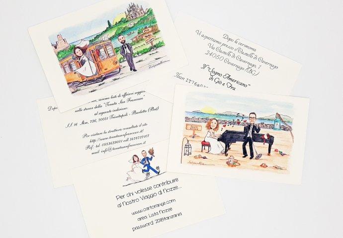 Talloncini aggiuntivi realizzati per le comunicazioni extra e personalizzati con il disegno sposi e il testi da te fornito