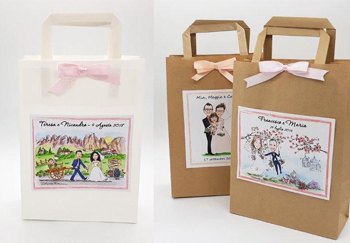 Wedding Bag - Shopper di carta completa di etichetta adesiva personalizzata con stampa disegno sposi nei diversi stili