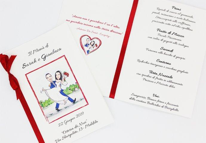 Menu'con stampa testo e disegno caricatura fedele di sposa in braccio alla sposa che camminano.