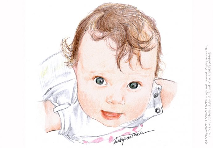 Ritratto fedele di bambina piccola realizzato a mano per personalizzare Inviti e Gadget Battesimo.