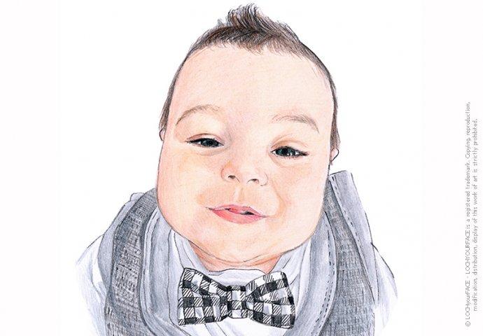 Ritratto fedele di bambino piccolo realizzato a mano per personalizzare Inviti e Gadget Battesimo.