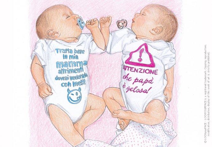 Ritratto fedele di fratellini gemelli realizzato a mano per personalizzare Inviti e Gadget Battesimo.