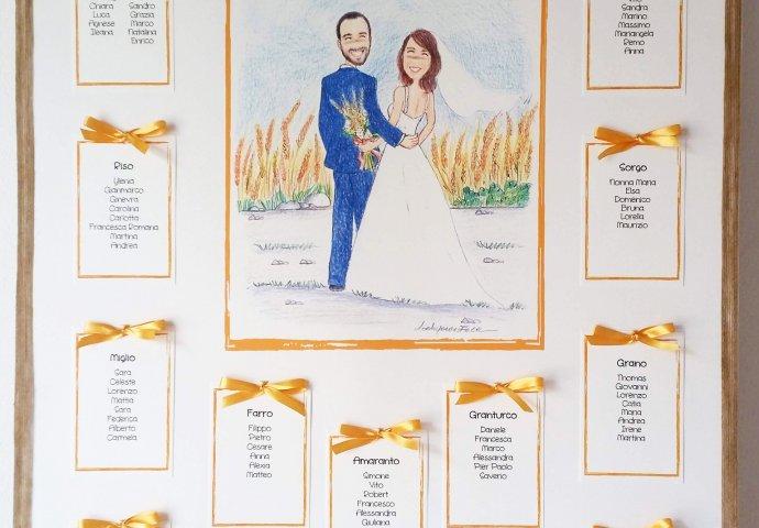 Tableau mariage personalizzato con disegno degli sposi abbracciati, i testi e i talloncini con stampa elenco invitati e nome tavolo forniti forati per confezionamento con eventuale nastro
