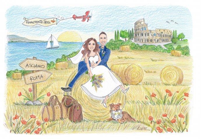 Disegno caricatura fedele di sposi seduti teneramente abbracciati su una balla di fieno in compagnia del loro amico a 4 zampe. Nello sfondo il mare e il colosseo.