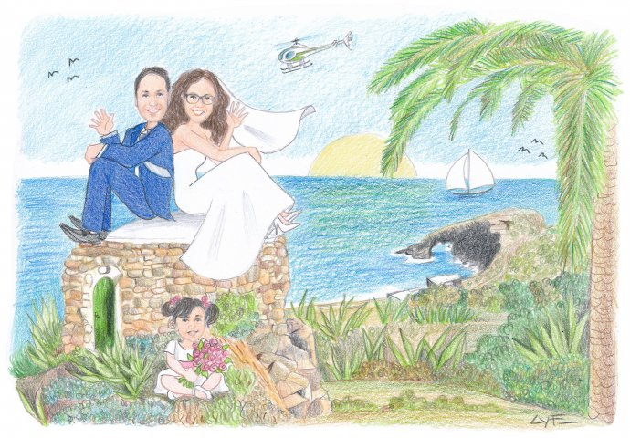 """Disegno caricatura fedele di sposi schiena contro schiena seduti su un dammuso pantesco e la figlioletta seduta con il bouquet mentre sulla destra, nello sfondo, l'""""Arco elefante""""."""