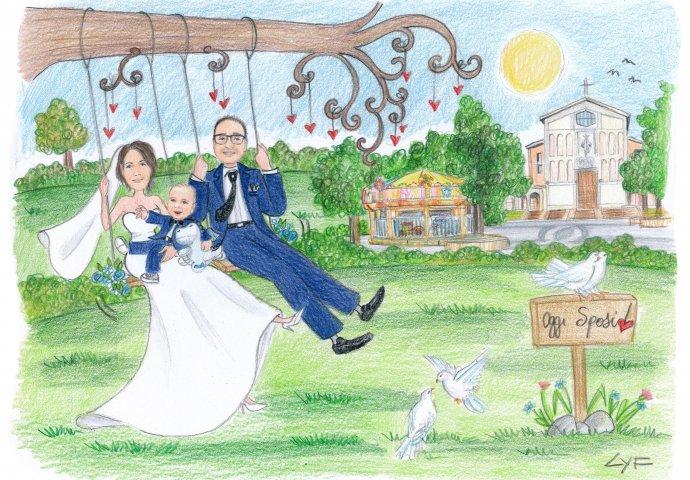 Disegno caricatura fedele di sposi sull'altalena insieme al figlioletto. Nello sfondo la loro Chiesa Chiesa S. Cuore di Gesù e Madonna di Loreto a Cosenza e la giostrina.