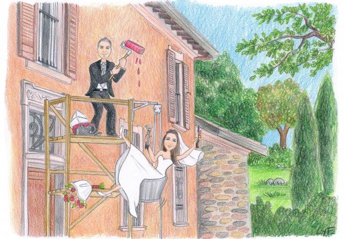 Disegno caricatura fedele di sposo che tinteggia su un'impalcatura un casolare rustico mentre tira su con la carrucola la futura sposa che tiene nelle mani i suoi trucchi.