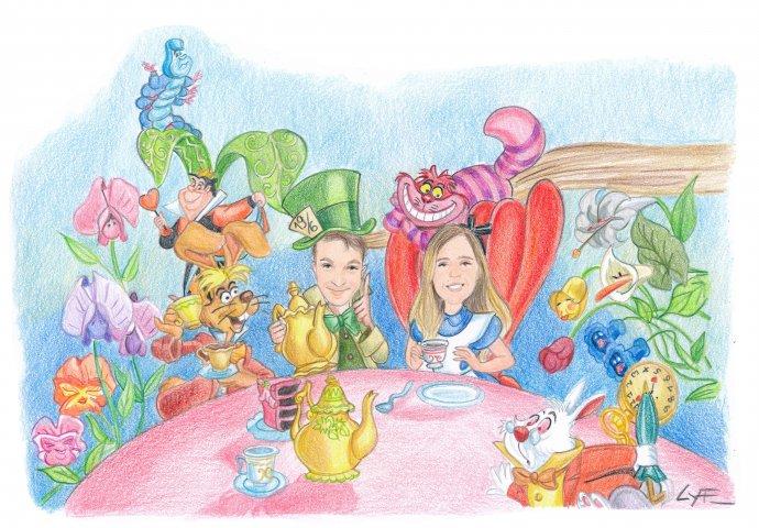 """Disegno caricatura fedele di sposi travestiti come il Cappellaio matto e Alice insieme agli altri personaggi in """"Alice nel paese delle meraviglie"""" della Disney"""