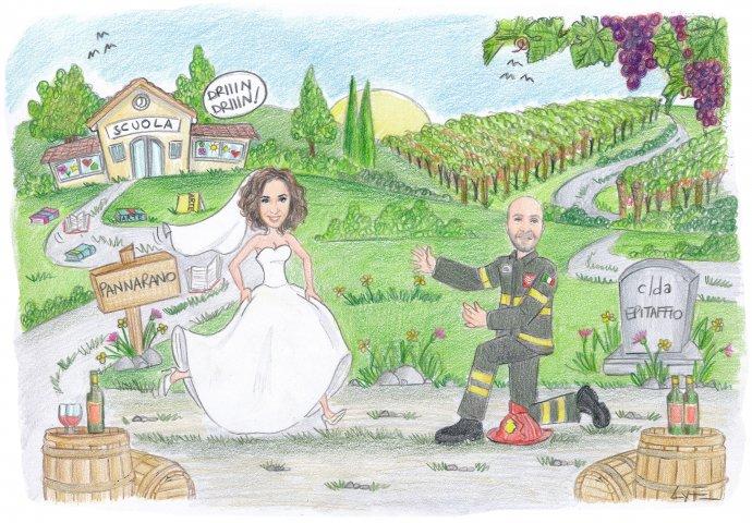 Disegno caricatura fedele di sposa che corre incontro allo sposo che l'attende in ginocchio vestito da vigile del fuoco. Nello sfondo la scuola e dei vigneti.