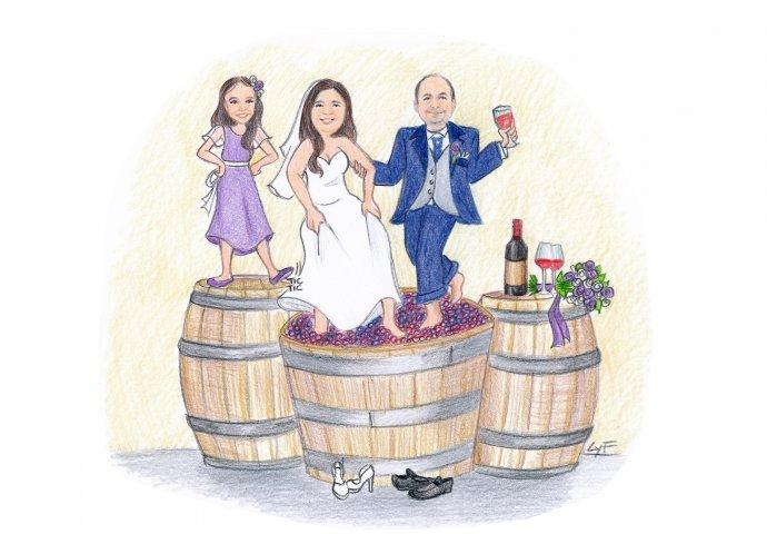 Disegno caricatura fedele di sposi che pigiano il mosto nella botte mentre brindano allegramente e la figlioletta che li guarda impaziente di andare a festeggiare.