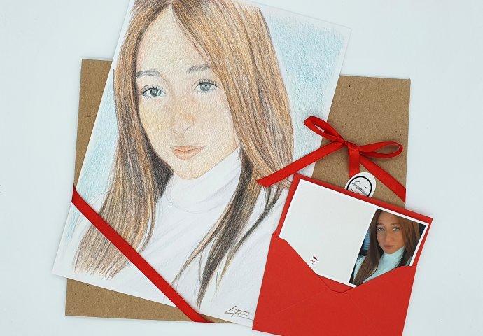 Ritratto Fedele Fatto a Mano realizzato come regalo per Compleanno 40 anni completo di Biglietto d'Auguri con busta e confezionamento in busta cartonata col. havana chiusa con il nastro.