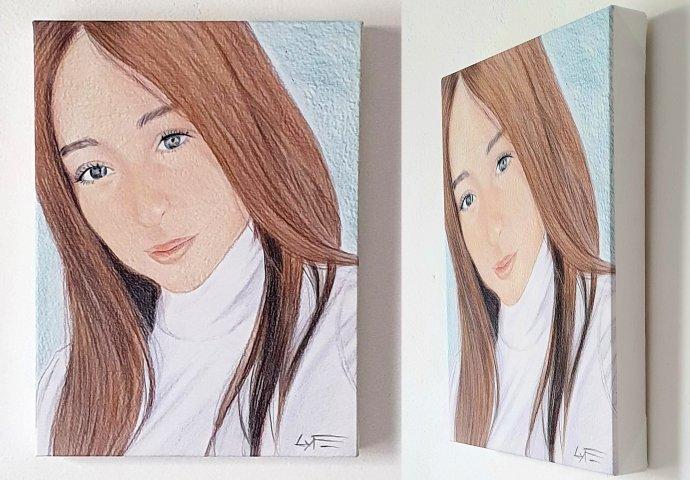 Tela 30x40 spessore 4cm con stampa disegno ritratto fedele realizzato per regalo di compleanno 18anni