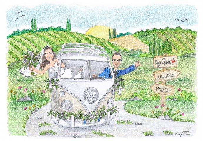 Disegno caricatura fedele di sposi sul furgoncino della volkswagen. Nello sfondo la campagna con i vigneti.