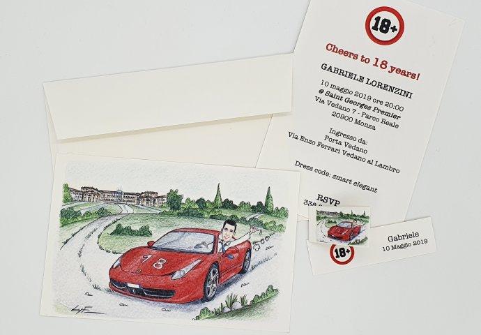 Invito cartolina compleanno con disegno scenetta caricatura fedele ragazzo sulla sua macchina che sfreccia. Nello sfondo il parco della Villa Reale di Monza