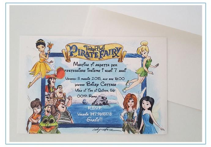 Invito cartolina compleanno bambina con disegni di personaggi Disney