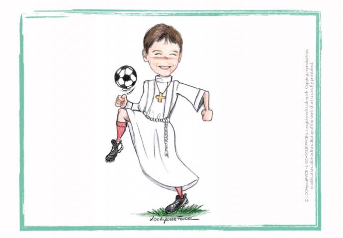 Scenetta in stile Loch di ragazzo in tunica che palleggia con la palla