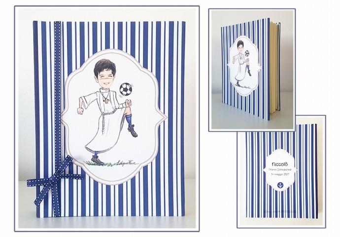 Album porta foto in tessuto personalizzato con disegno bambino in stile Loch
