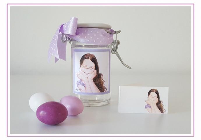 Barattolino di vetro porta confetti personalizzato con disegno bambina in stile Loch