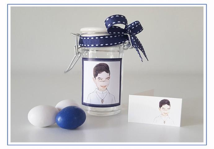 Barattolino di vetro porta confetti personalizzato con disegno bambino in stile Loch