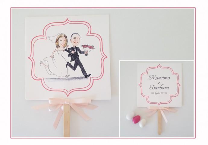 Ventaglio personalizzato sul fronte con stampa disegno caricatura fedele di sposi che corrono e testo sul retro